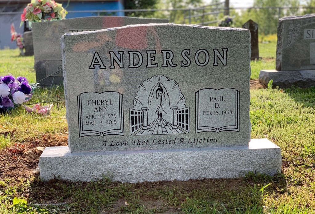 Headstone for Cheryl and Paul Anderson