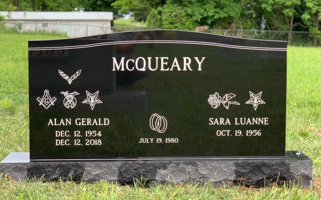 Headstone for Alan Gerald and Sara Luanne McQueary