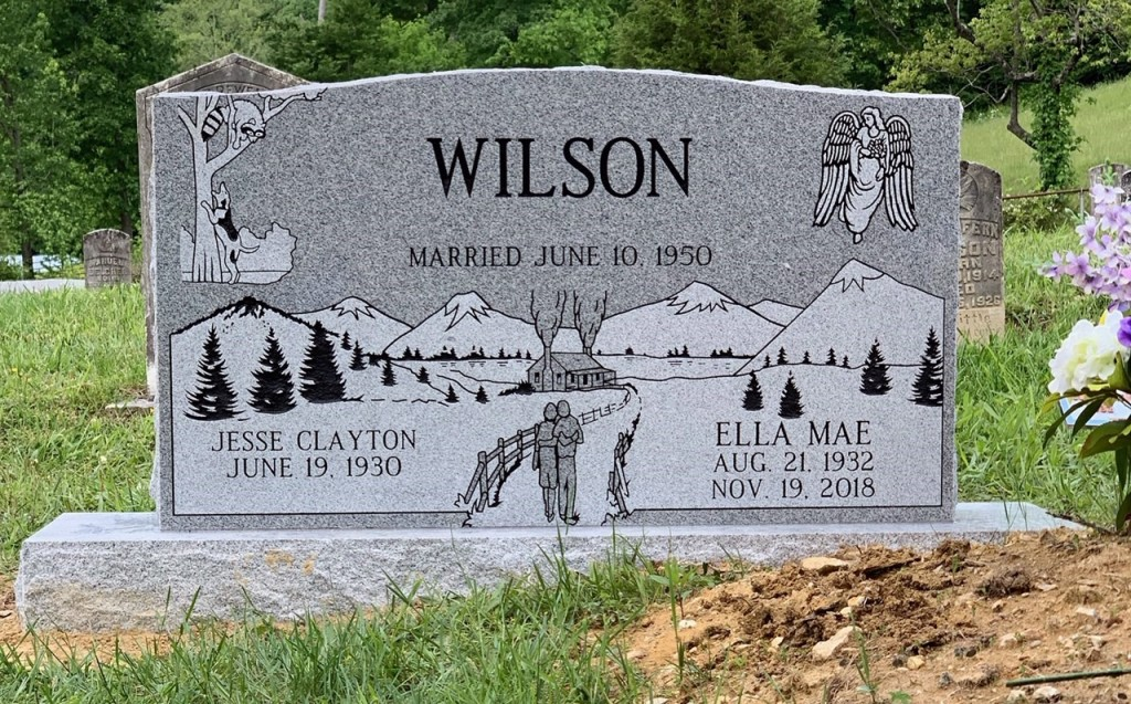 Headstone for Jesse Clayton and Ella Mae Wilson