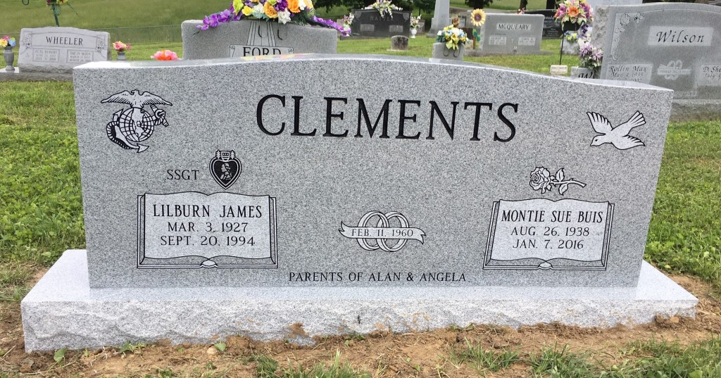 Headstone for Lilburn and Montie Sue Clements