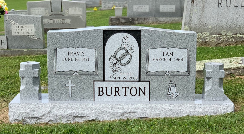 Headstone for Travis and Pam Burton