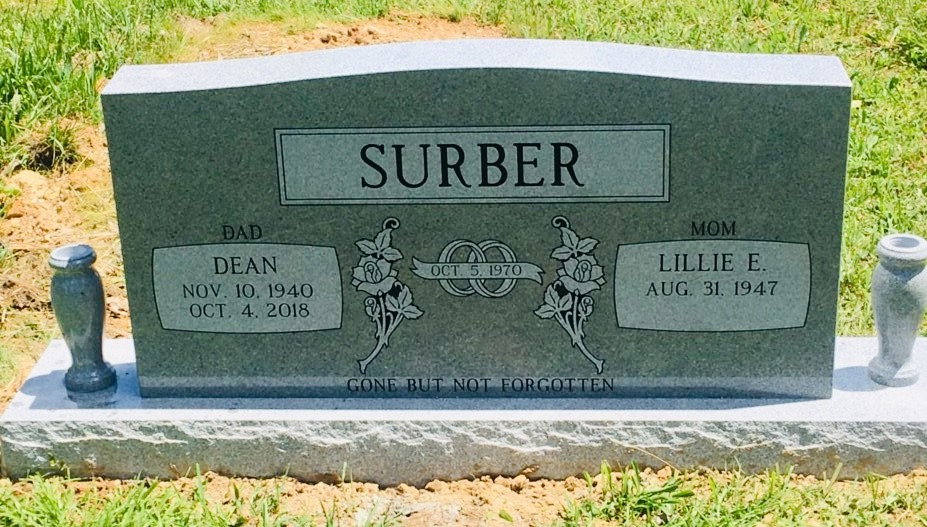 Headstone for Dean and Lillie Surber