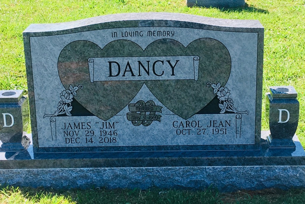 Headstone for Jim and Carol Dancy