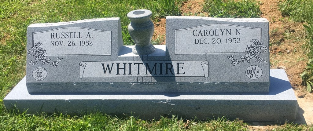 Double slant marker for Russell and Carolyn Whitmire