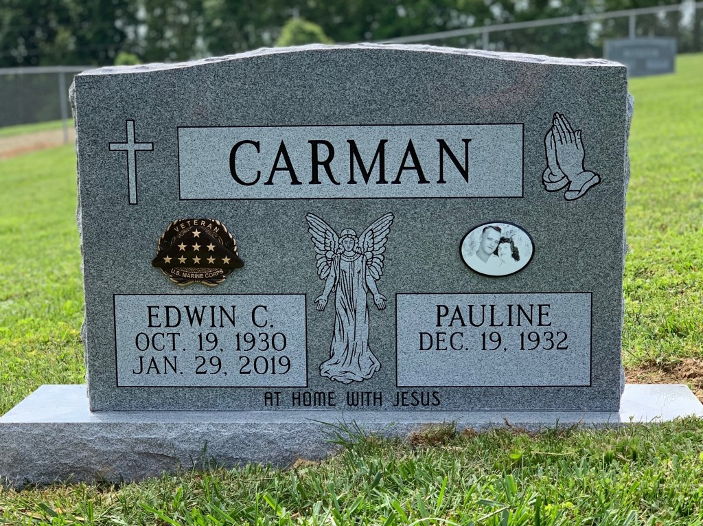 Headstone for Edwin and Pauline Carman