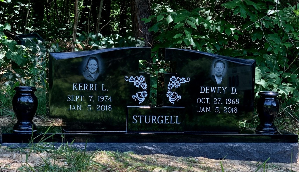 Headstone for Dewey and Kerri Sturgell