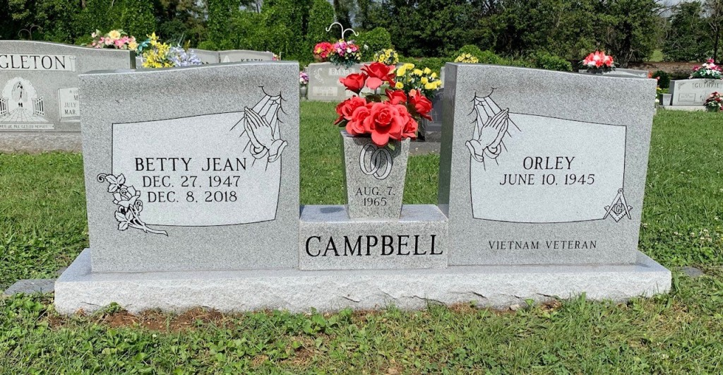 Headstone for Orley and Betty Campbell