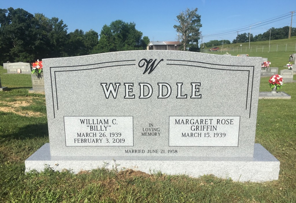 Headstone for Billy and Margaret Weddle
