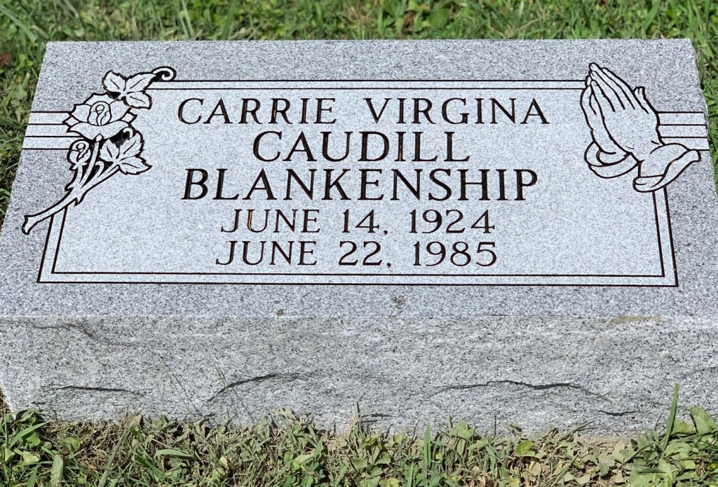 Bevel marker for Carrie Virginia Blankenship