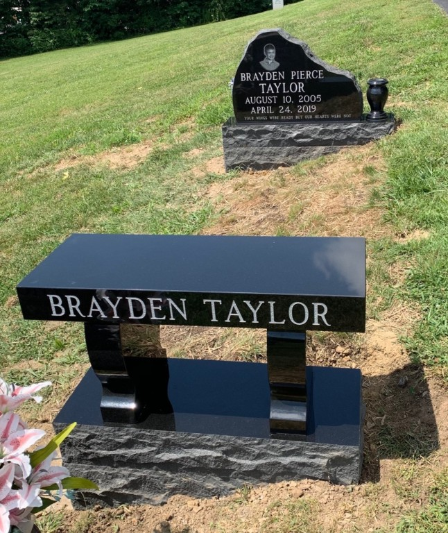 Headstone and bench for Brayden Taylor