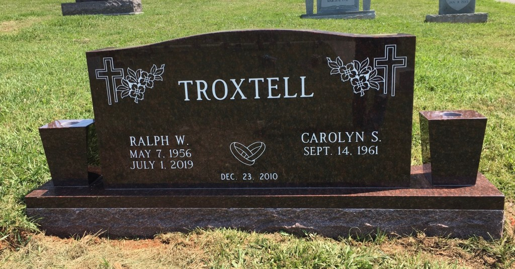 Headstone for Ralph and Caroline Troxtell