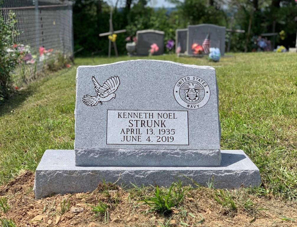 Slant marker and base for Kenneth Strunk