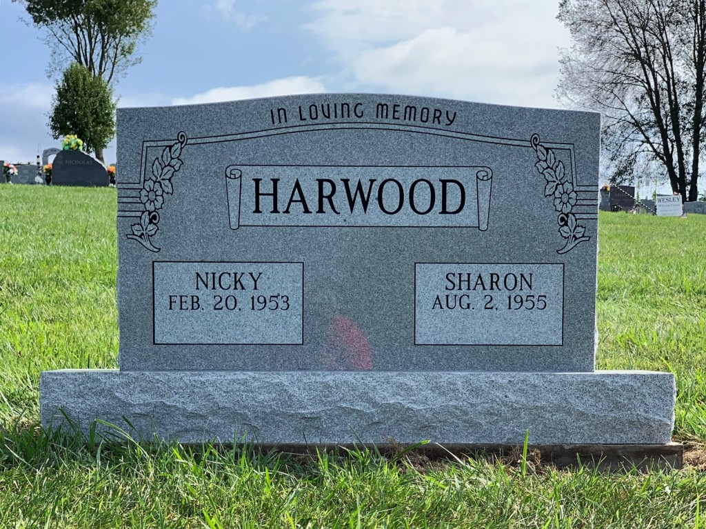 Headstone for Nicky and Sharon Harwood