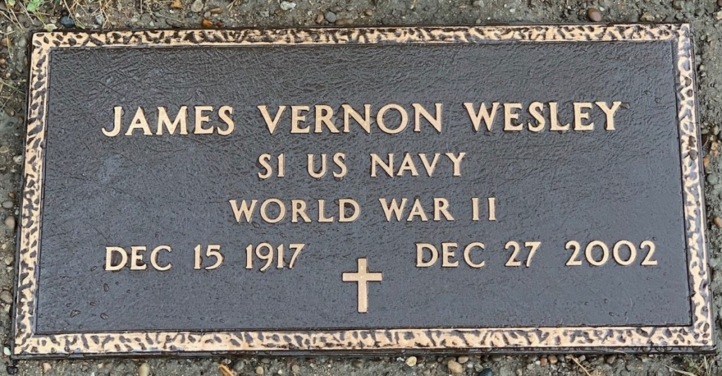 Bronze marker for James Vernon Wesley