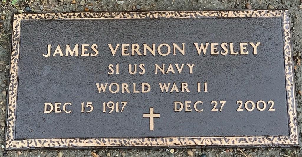 Bronze marker for James Vernon Wesley