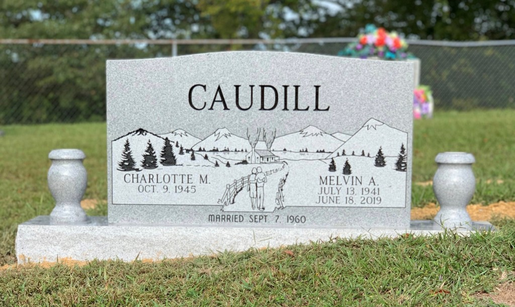 Headstone for Melvin and Charlotte Caudill
