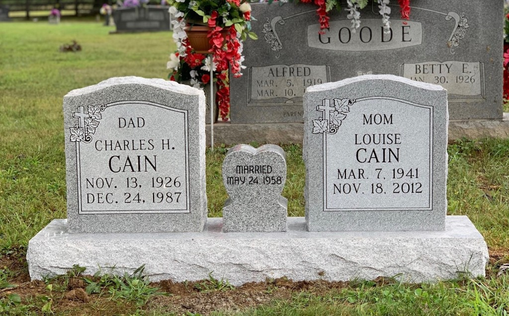 Headstone for Charles and Louise Cain