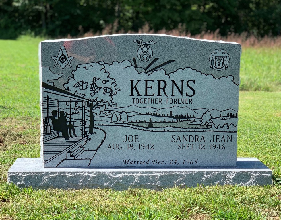 Headstone for Joe and Sandra Kerns