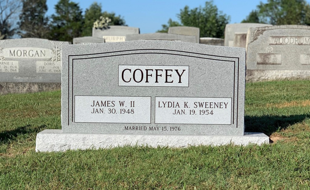 Headstone for Jim and Lydia Coffey