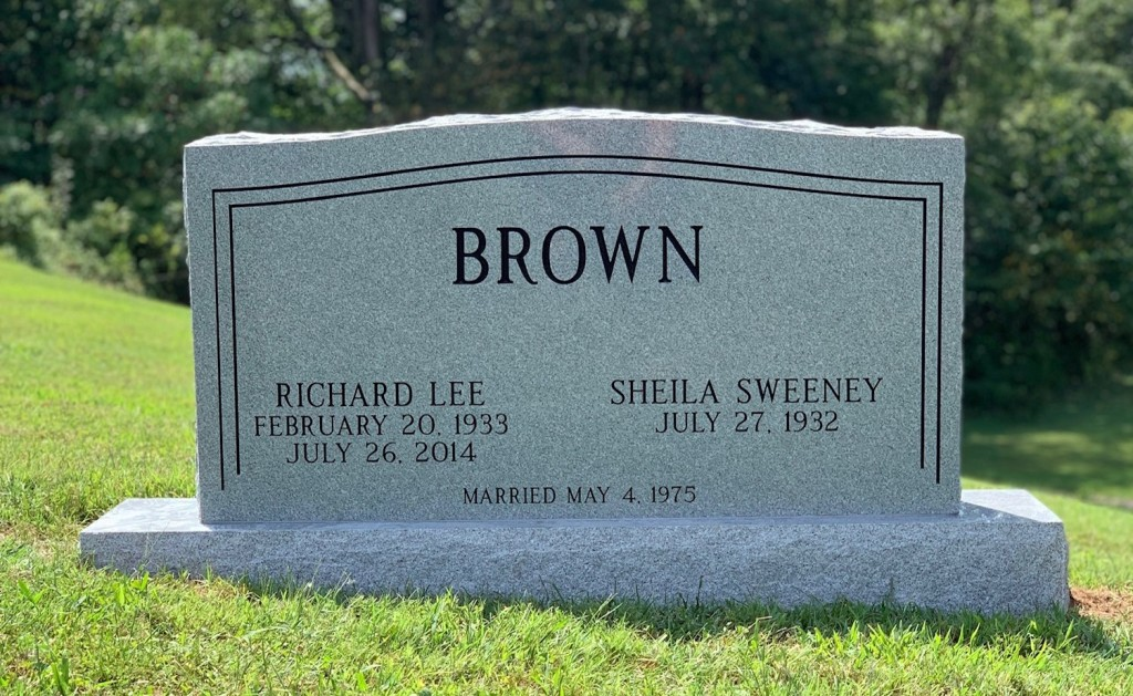 Headstone for Richard and Sheila Brown