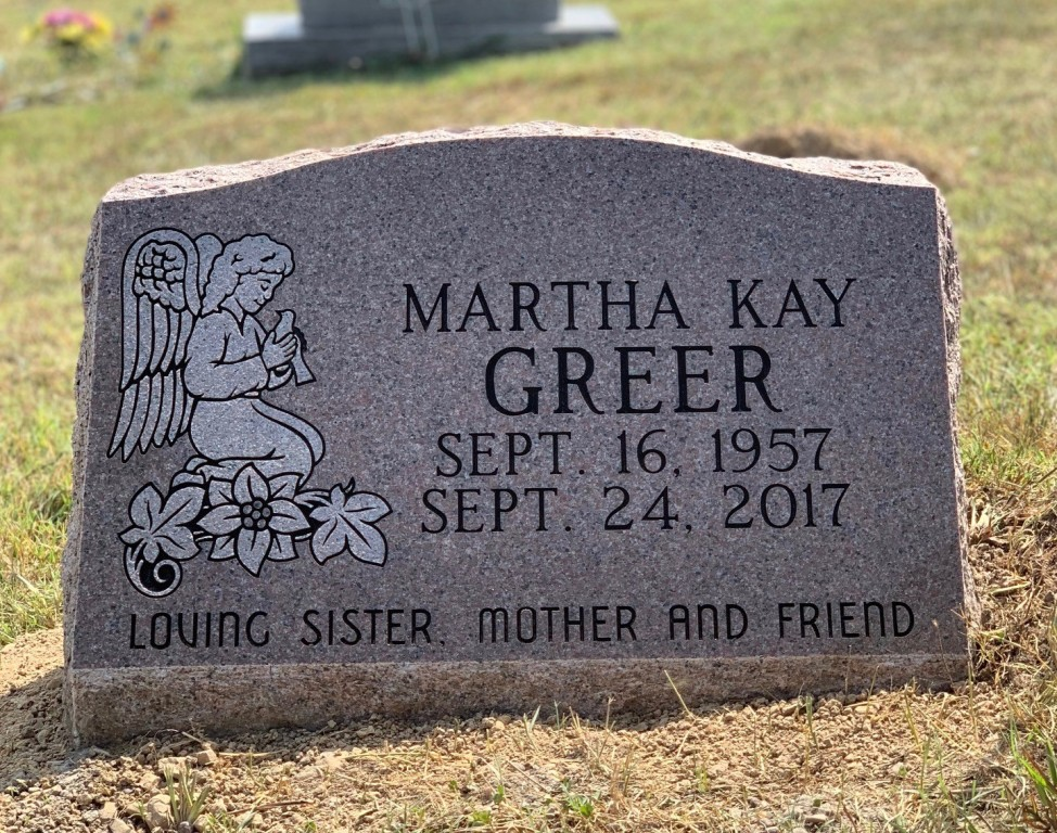 Slant marker for Martha Kay Greer