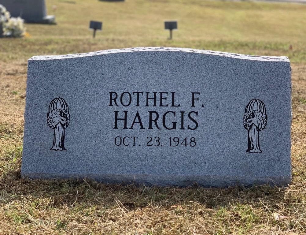 Slant marker for Rothel Hargis
