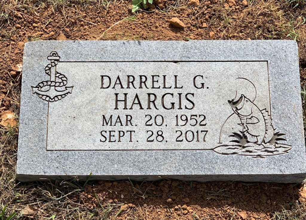 Flat granite marker for Darrell Hargis