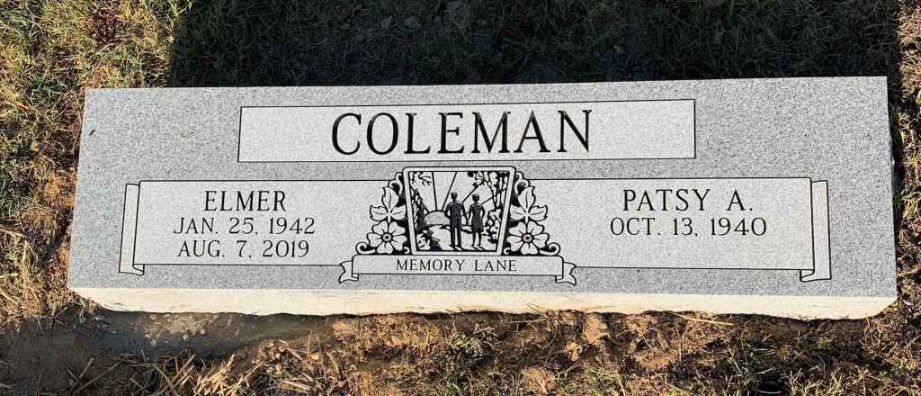 Double bevel marker for Elmer and Patsy Coleman