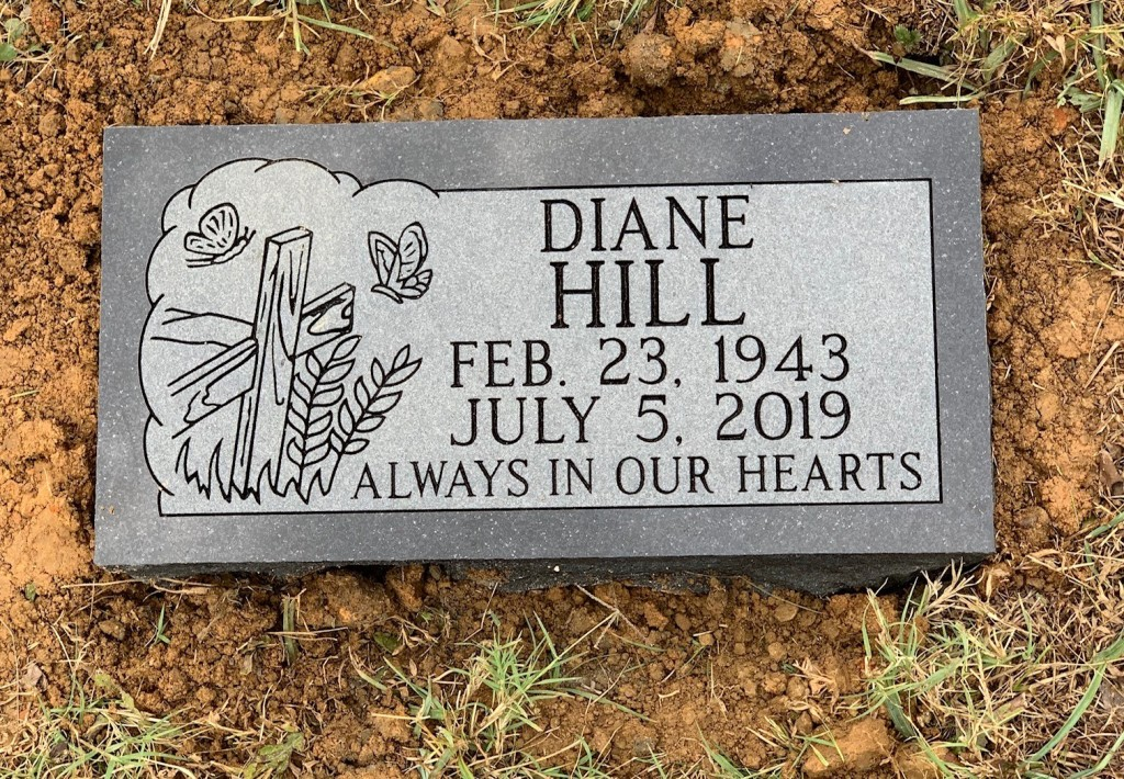 Flat granite marker for Diane Hill