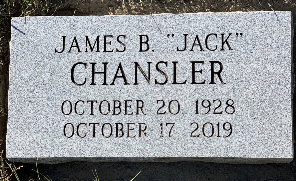 "Flat granite marker for James B. ""Jack"" Chansler"