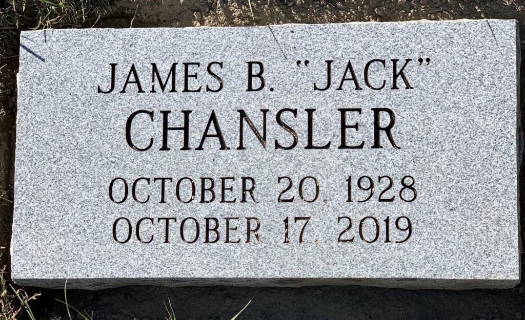 "Flat granite marker for James B. ""Jack"" Chansler"