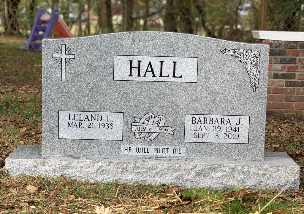 Headstone for Leland and Barbara Hall