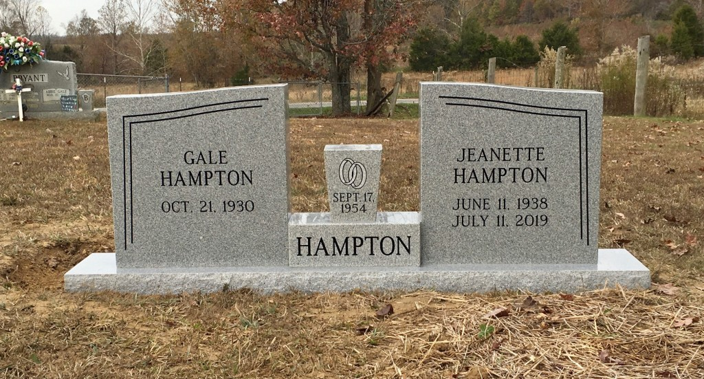 Headstone for Gale and Jeanette Hampton