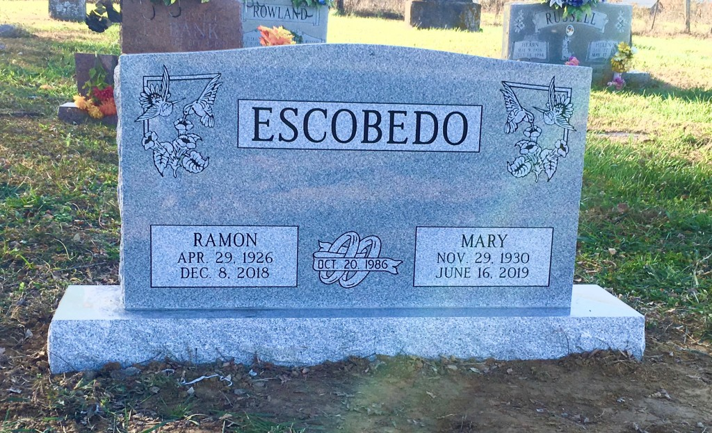 Headstone for Ramon and Mary Escobedo