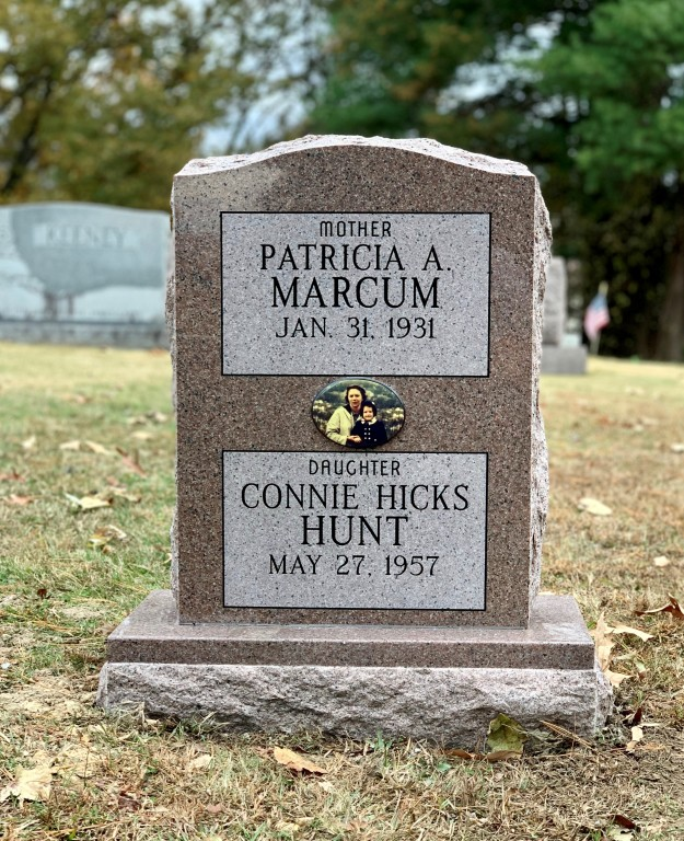 Headstone for Patricia Marcum and Connie Hunt