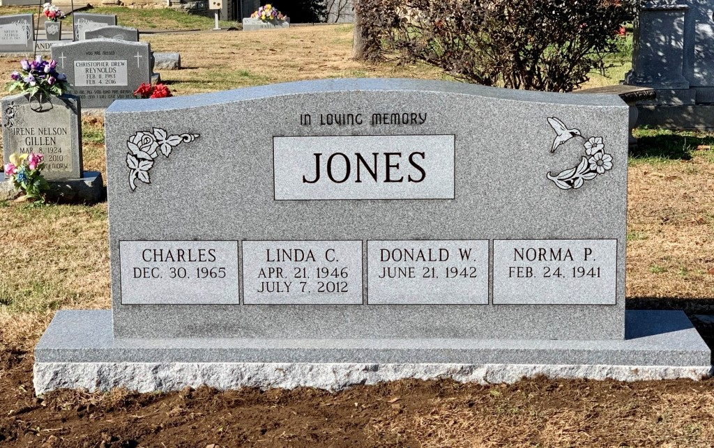 Quadruple Headstone for Charles, Linda, Donald, and Norma Clark