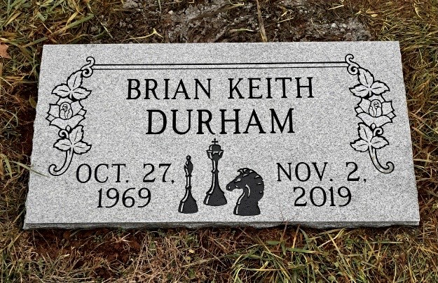 Flat granite marker for Brian Keith Durham