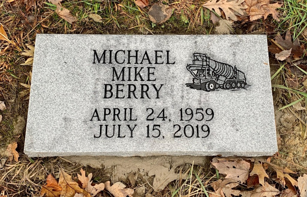 Flat granite marker for Mike Berry