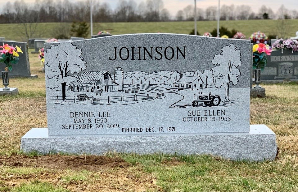 Headstone for Dennie and Sue Ellen Johnson