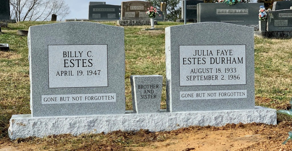 Headstone for Billy Estes and Julia Faye Estes Durham