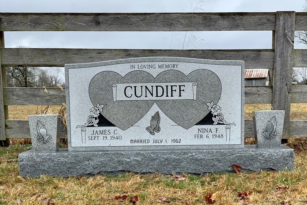 Headstone for James and Nina Cundiff