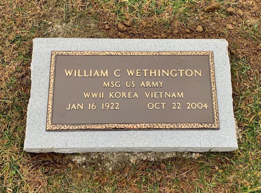 Veterans bronze marker mounted to granite base for William C. Wethington