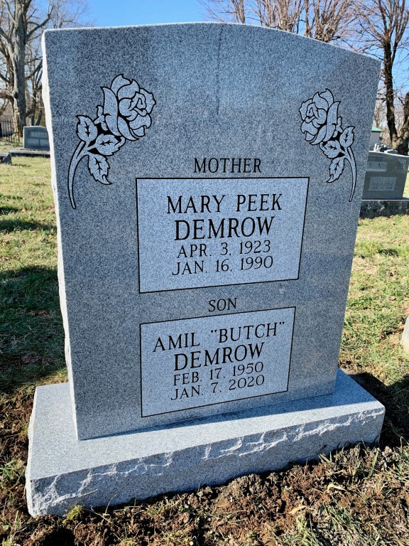 "Headstone for Mary Peek Demrow and Amil ""Butch"" Demrow"