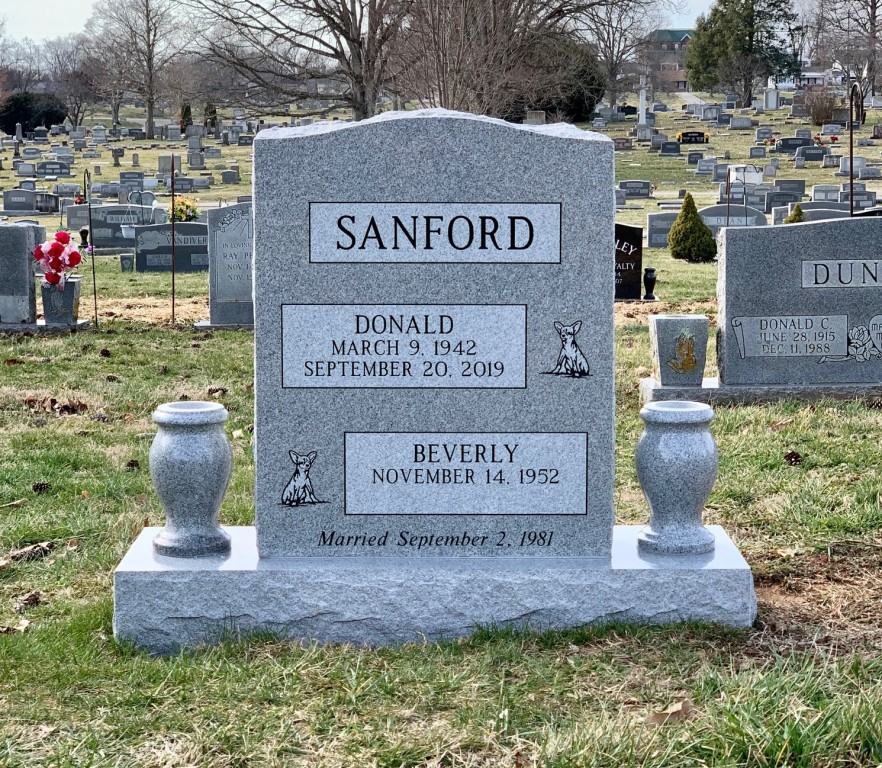 Headstone for Donald and Beverly Sanford