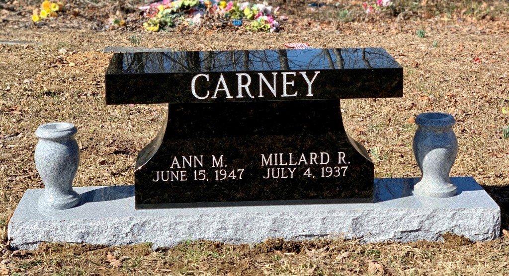 Bench headstone for Ann and Millard Carney