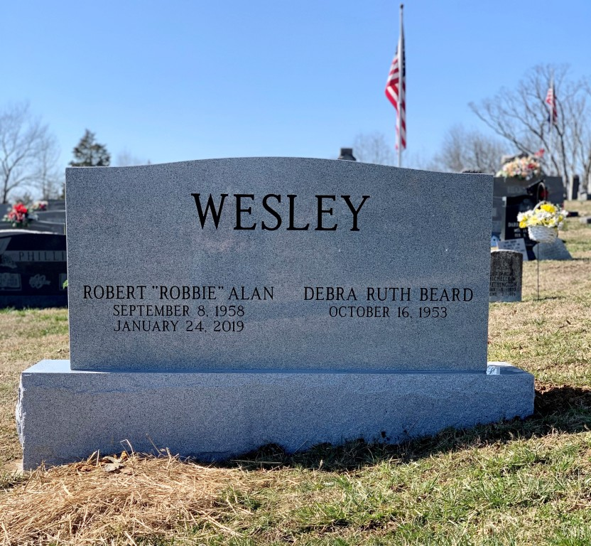 Headstone for Robert and Debra Wesley