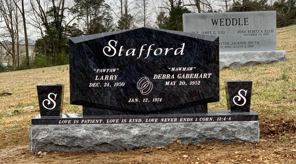 Headstone for Larry and Debbie Stafford