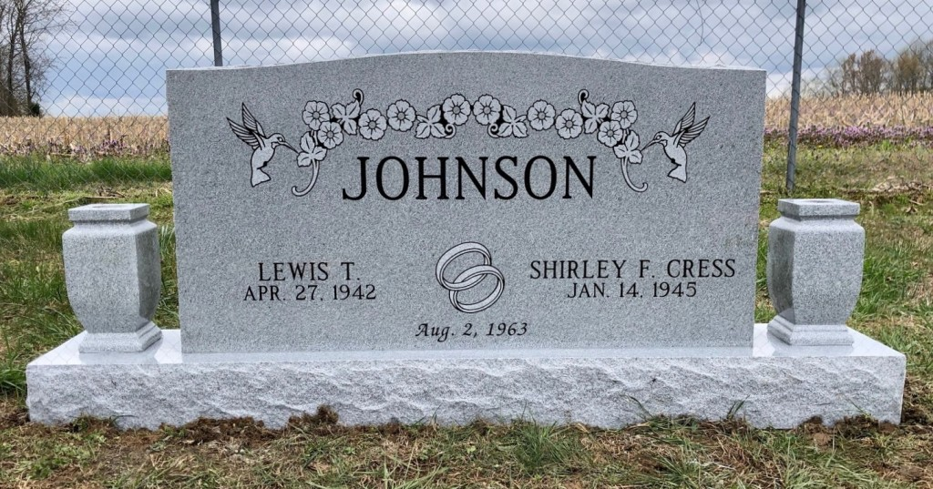 Headstone for Lewis and Shirley Johnson