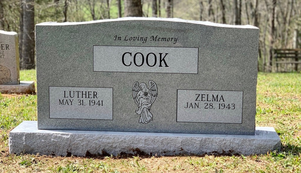 Headstone for Luther and Zelma Cook