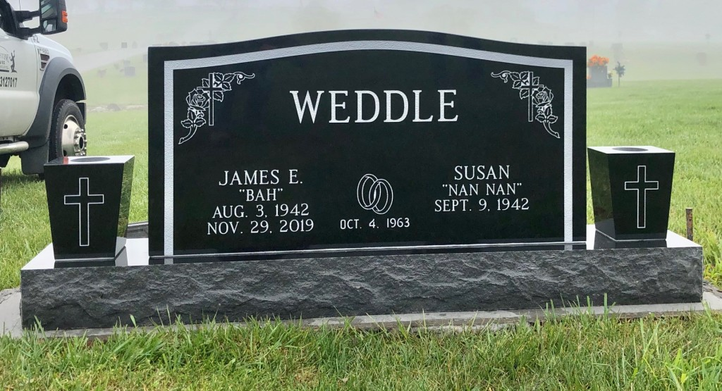 Headstone for James and Susan Weddle